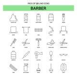 Barber Line Icon Set - style à tiret d'ensemble 25 illustration stock