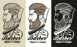 Barber logo. Logotype for barber shop and hairdresser stock illustration