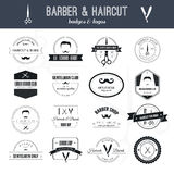 Barber Logos. Perfect set of barber and haircut logos. Men's haircuts logo collection made in vector. Badges, labels and design elements stock illustration