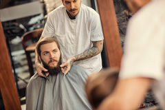 Barber man grooming of real hipster Stock Photos