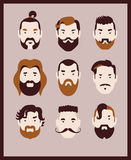 Barber men. Fashion man with hair styles, mustaches and beards collection Royalty Free Stock Photos