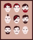 Barber men. Fashion man with hair styles, mustaches and beards collection Royalty Free Stock Images