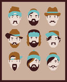 Barber men. Fashion man with hair styles, mustaches and beards in various hats collection Royalty Free Stock Photos