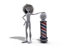 Barber metaphor. Man with long hair waiting for barber Stock Image