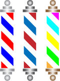 Barber pole. Three nice barber pole with colors stock illustration