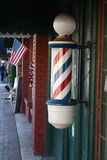 Barber Pole. Antique,barber pole out side of a antique shop.It used to symbolize the barber's former sideline of surgery Stock Photos