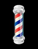 Barber pole. Isolated barber pole over black background royalty free illustration