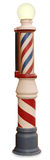 Barber Pole. Free standing vintage barber pole on a white background with clipping path Stock Image