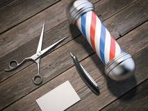 Barber pole and business card . 3d rendering Stock Photo