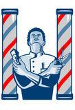 Barber With Pole Hair Clipper and Scissors Retro. Illustration of an african american barber with arms crossed holding a hair clipper and a pair of scissors with Royalty Free Stock Images