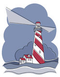 Barber Pole Lighthouse. Illustration of a barber pole lighthouse Royalty Free Stock Photos