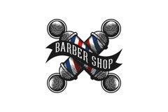 Barber Pole Logo Designs Inspiration croisée d'isolement sur le fond blanc illustration de vecteur