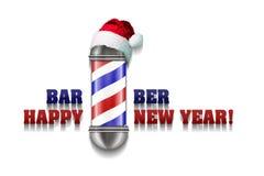 Barber Pole mit Santa Claus-Hut auf einem weißen Hintergrund Aufschrift Barber Happy New Year Gruß-Karten-guten Rutsch ins Neue J stock abbildung
