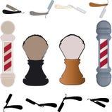 Barber Poll och rak rakkniv Royaltyfria Bilder