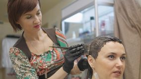 Barber. Professional hair coloring a hairdresser. stock video footage