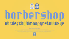 Barber. Regular, comb style alphabet letters over yellow background. vector, contemporary font type. modern, hair brush typeface design. barber shop style Stock Image