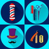 Barber`s equipment and symbols. Stock Images