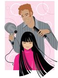 At barber's shop. Long haired girl at barber's shop Vector Illustration