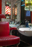 Barber's Shop. Traditional Men's Barber's Shop with Red Chair Royalty Free Stock Images