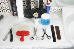 Barber's Tool On Counter Royalty Free Stock Photography