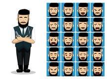 Barber Scissor Comb Cartoon Emotion fait face à l'illustration de vecteur Photo stock