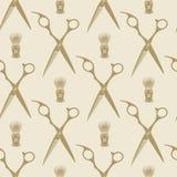 Barber scissors beard brush pattern tile background seamless Royalty Free Stock Photo
