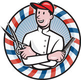 Barber With Scissors and Comb Cartoon Royalty Free Stock Images