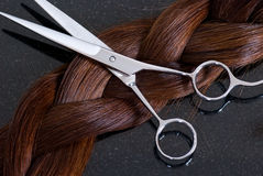 Barber Scissors and Hair Royalty Free Stock Images