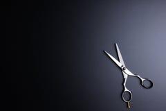 Barber Scissors profesional elegante, corte del pelo en la parte posterior del negro Imagen de archivo