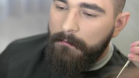 Barber with scissors trimming beard. stock video footage
