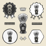 Barber shaving brush beard symbol emblem label collection Royalty Free Stock Photography
