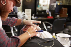 Barber Shaving Client With Cut Throat Razor Royalty Free Stock Image