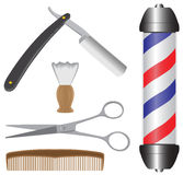 Barber Shop. Various barbershop items including razor, shaving brush, scissors, comb and barber pole Stock Photos