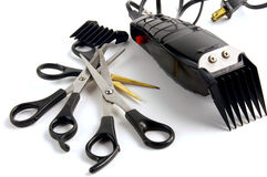 Barber shop. Scissors and clippers from hair salon or barber shop Stock Images