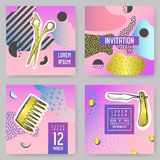 Barber Shop Abstract Posters Set avec les éléments d'or de scintillement Couvertures de style de hippie, bannières, calibres de B illustration de vecteur
