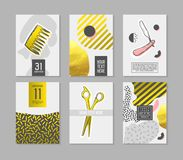 Barber Shop Abstract Posters Set con los elementos de oro del brillo Cubiertas del estilo del inconformista, banderas, plantillas Stock de ilustración