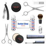 Barber Shop Accessories Set realista Fotografía de archivo libre de regalías