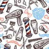 Barber Shop Attributes Doodle Seamless-Patroon Royalty-vrije Stock Afbeelding