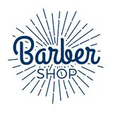 Barber Shop Typographic Hipster Badge/Label. With lighting rays stock photos