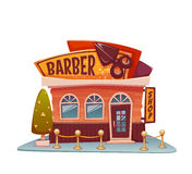 Barber shop building with bright banner. Vector Royalty Free Stock Image