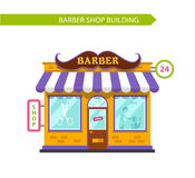 Barber shop building. Vector flat style illustration of barber shop building. Signboard with big mustache. Barber serve customers. Isolated on white background Stock Photography