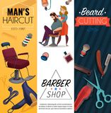 Barber Shop Cartoon Banners Illustration Stock