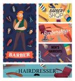 Barber Shop Cartoon Cards Illustration de Vecteur