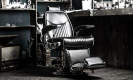 Barber shop chair. Stylish vintage barber chair. Barbershop armchair, modern hairdresser and hair salon, barber shop for stock photos