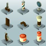 Barber shop color gradient isometric set. Vector illustration, EPS 10 stock illustration