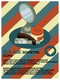 Barber shop color isometric poster vector illustration