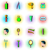 Barber shop elements icons set, comics style Stock Photo
