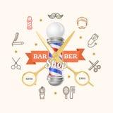 Barber Shop Emblem avec des ciseaux d'or et Polonais Vecteur Photo stock