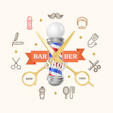 Barber Shop Emblem with Gold Scissors and Pole. Vector Stock Photo