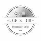 Barber Shop-Emblem oder -aufkleber, die einen Kamm und Scheren mit Text darstellen Stockfotografie